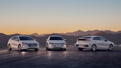 Hyundai Ioniq finns i tre olika utföranden, som bensindriven elhybrid, som laddhybrid och som elbil.