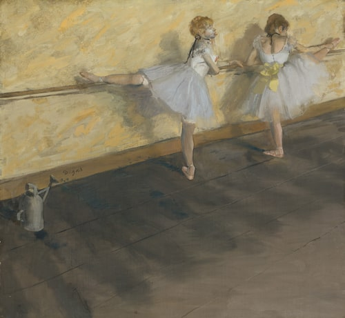 Dancers Practicing at the Barre (1877) av Degas.