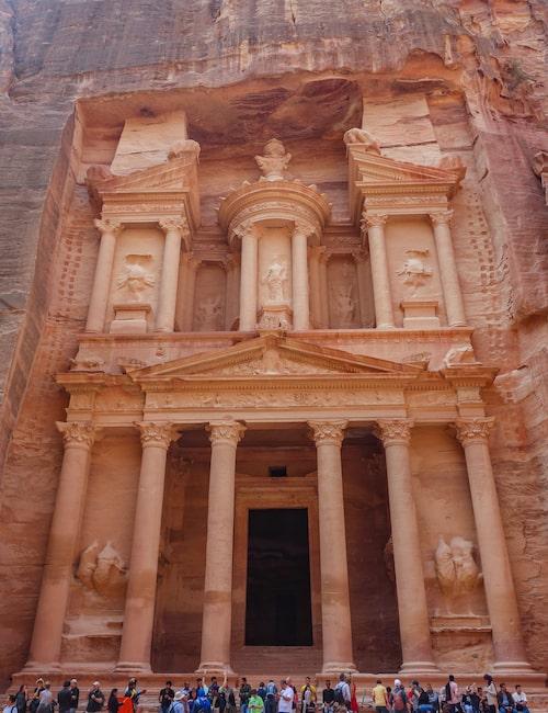 Klippstaden Petra i Jordanien.