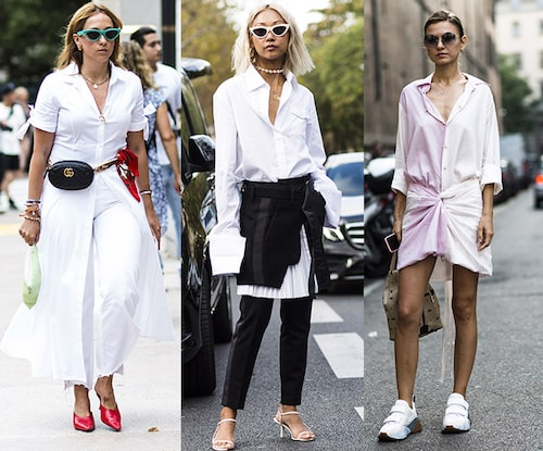 Bär skjortklänningen med klackar och magväska för en piffig streetlook, med byxor till vädret tillåter barbent eller med sneakers för en avslappnag sommaroutfit.