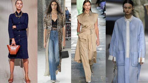 Skjortklänningar SS21. Långärmad skjortklänning från Tod's, stylad med enkla sandaler för en fräsch look. Öppen fotsid och leopardmönstrad skjortklänning över jeans och top från Paco Rabanne. Beige ton-i-ton och halvöppen med skärp i midjan och markerade axlar från Boss och långärmad, lång och oversize modell från Fendi. Skjortklänningen kan varieras i oändlighet!