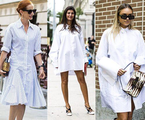 Den ljuvliga skjortklänningen är lika snygg i kortkort modell som i maxilängd. Krispigt vitt blir snyggt mot gyllenbruna sommarben!