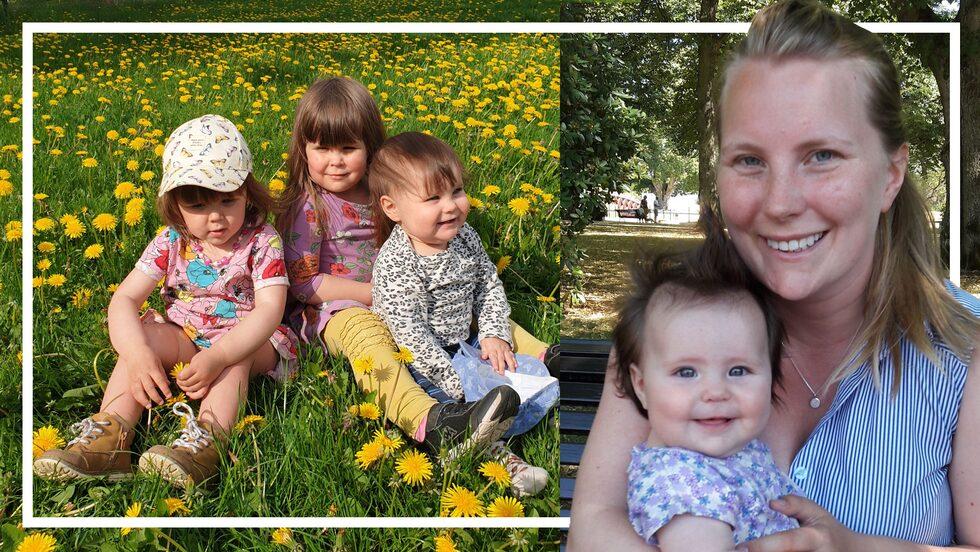Josefines barn Lovis, Sally och Ruth är födda 2018, 2019 och 2020.
