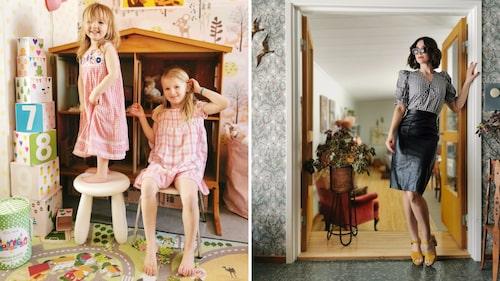 Döttrarna Inez och Alva har många plagg, leksaker och inredning som Sara fyndat på second hand.