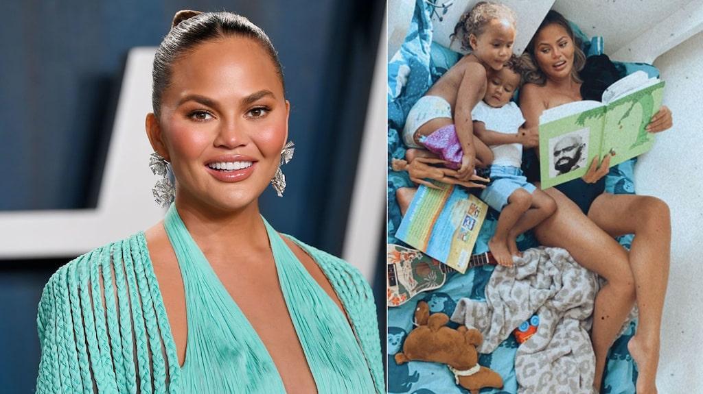 Chrissy Teigen har barnen Luna, 4, och Miles, 2. Nu väntar hon ett tredje barn tillsammans med maken John Legend.