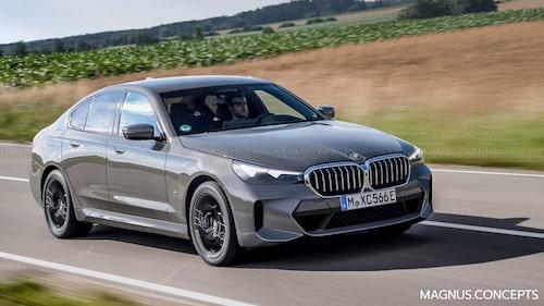 Så här skulle nya BMW 5-serie kunna se ut. Illustrationen baseras på det lilla spionbilderna avslöjar samt uppgifter som florerar i kretsar som har insyn i BMW:s arbete.