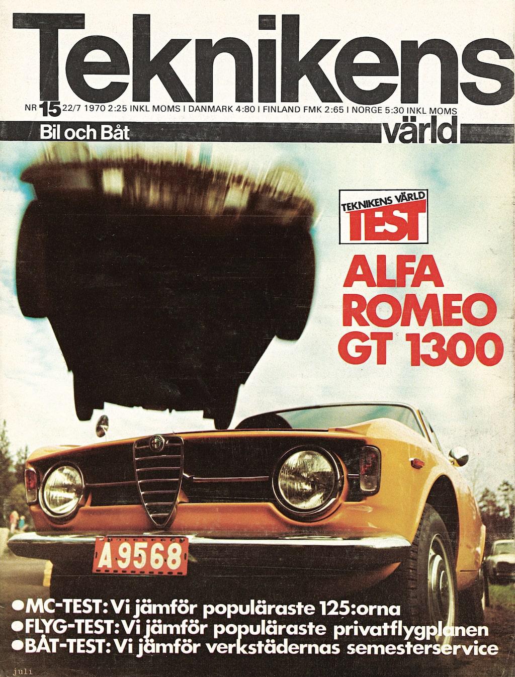 """Vilken slump – det är troligen samma bil som Teknikens Värld testade i TV15/1970 som vi kör i dag! Då drog vi slutsatsen """"För entusiasten med liten plånbok är Alfa Romeo 1300 GT Junior ett fynd"""". Men simultankapacitet krävdes uppenbarligen. """"En bil som Alfan kräver rätt mycket av föraren. Man har två, tre viktiga instrument att hålla reda på, och även rent mekaniskt måste man vara känslig och ha sinne för materialet""""."""
