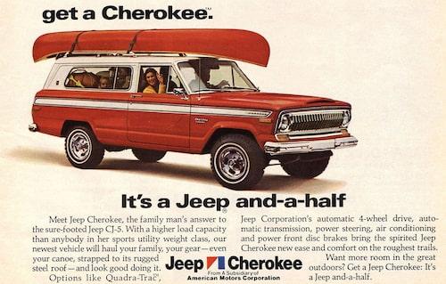 Annons för Jeep Cherokee 1974, första året för modellen.