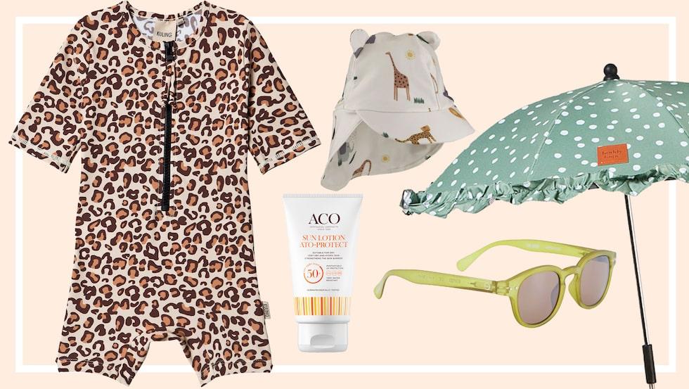 Solcreme, solhattar och UV-kläder – vi har valt solskydd för barn till stranden, i bilen och i vagnen.