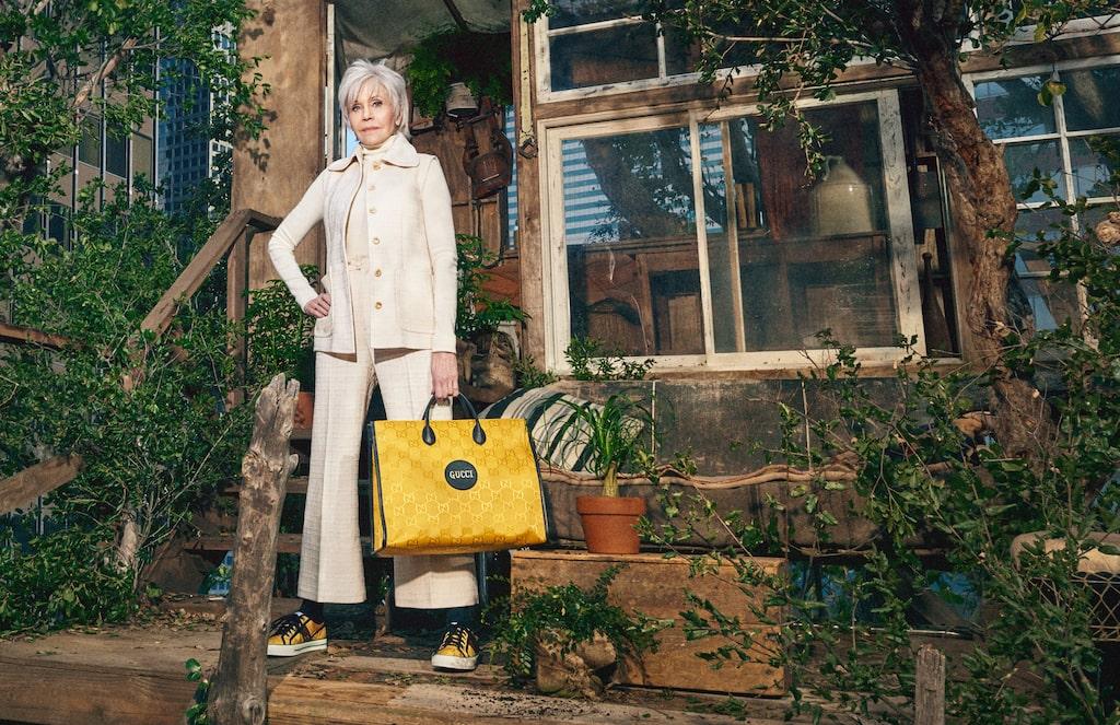 Skådespelerskan Jane Fonda i Guccis nya kampanj.