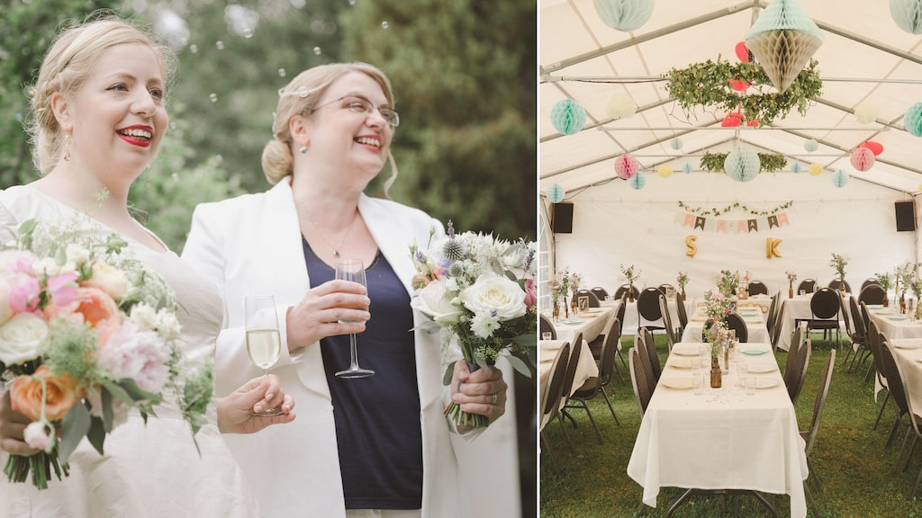 Personligt och till budgetpris. Karin och Sarah gifte sig i trädgården vid familjens sommarstuga.