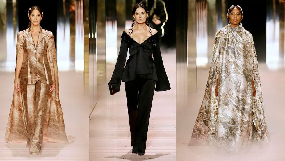 50-plus på catwalken: Christy Turlington, Demi Moore och Naomi Campbell för Fendi.