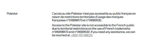 Detta meddelande möts man av på Polestars franska hemsida.