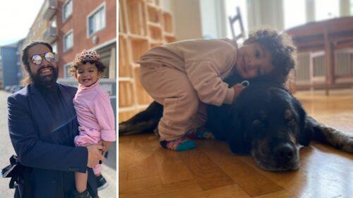 Uno med pappa Nils och familjens hund.