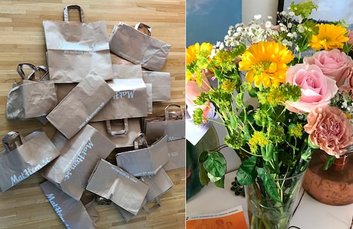 Många kassar blir det efter alla matleveranser. Och krya på dig-blommor!