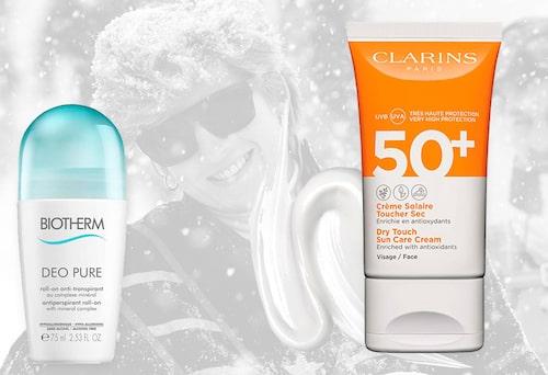 Deodorant från Biotherm och solkräm från Clarins.