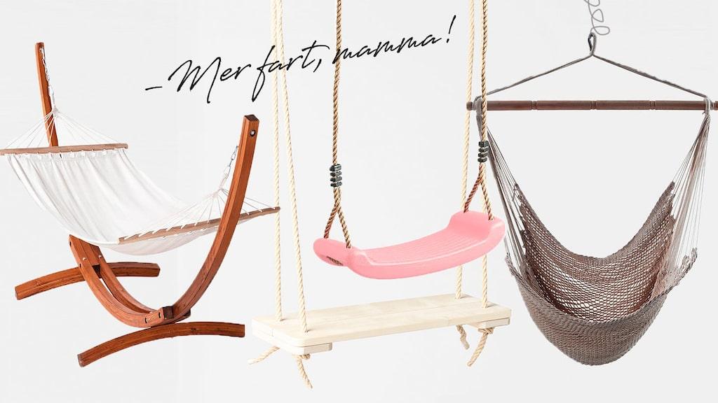 En gunga till barnen och en hängmatta eller hängstol till mamma – perfekt!