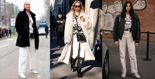 Vita jeans passar till allt! Styla vida vita jeans till vit skjorta och vita boots. Eller stoppa ned dina vita jeans i slim fit i vida stövlar och matcha med svart. Eller så bär du dina vita mom jeans med ljusa sneakers och ett snyggt bälte.