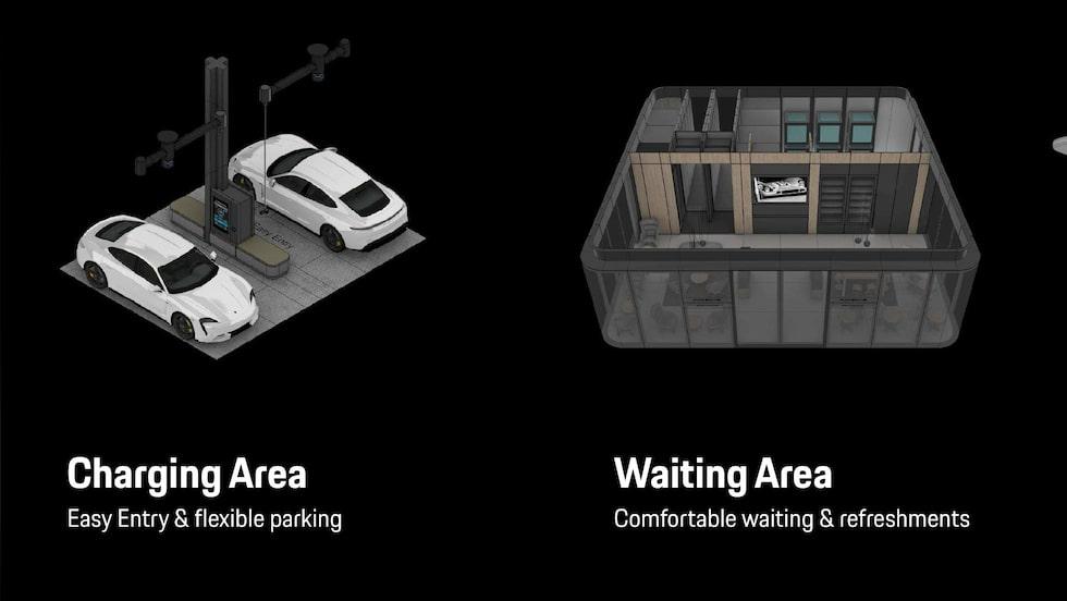 Porsches laddstationer ska bli mer än bara en sladd längs vägen.