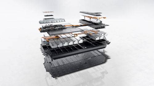 Batteriet på 93,4 kWh som bland annat sitter i Taycan Turbo S.