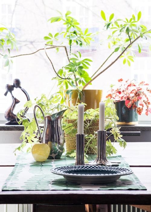 Det spirar på matbordet. Fat, Mateus, tennljusstakar Flow och tennkanna, båda Svenskt tenn. Skulpturen i fönstret är loppisfynd.