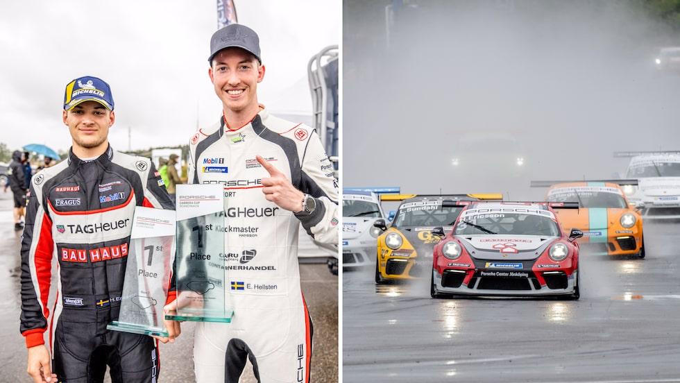Hampus Ericsson, till vänster, och Edvin Hellsten vann på Falkenberg.