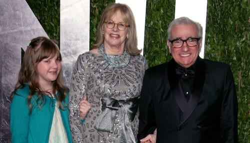 Helen Morris med maken Martin Scorsese och dottern Francesca på röda mattan 2012.