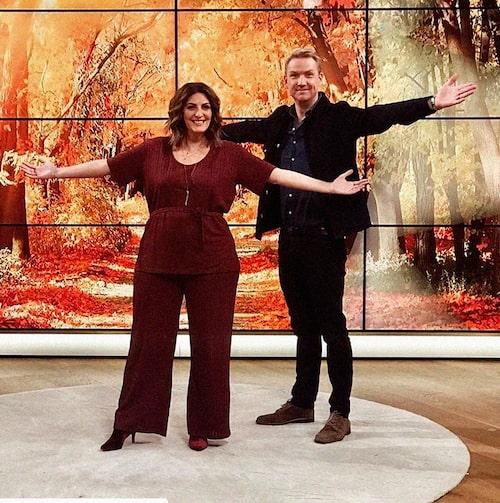 Soraya Lavasani tillsammans med kollegan Jesper Börjesson i TV4:s Nyhetsmorgon.