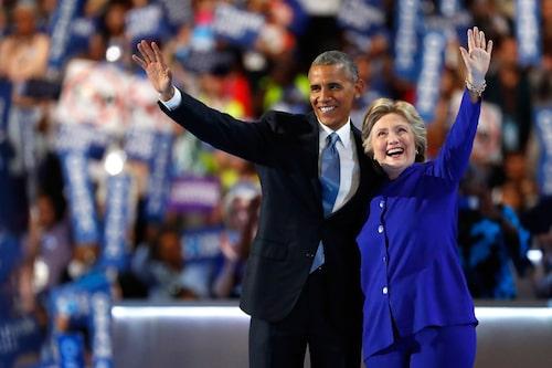 Barack Obama och Hillary Clinton under den senares kampanj för att bli Demokraternas presidentkandidat 2016.