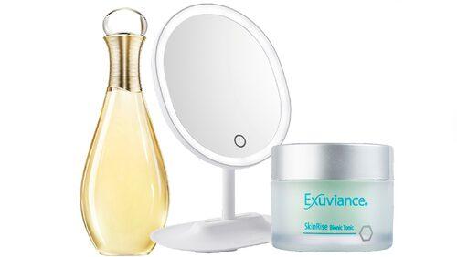 J'adore-olja från Dior, peelingpads från Exuviance och makeupspegel från Browgame Cosmetics.