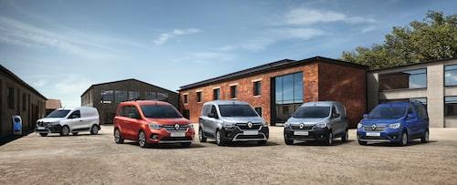 Hela Renault Kangoo-familjen som även inkluderar enklare modellen Express.