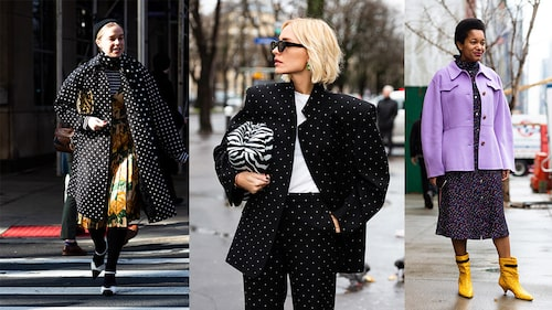 Nu är trenden att mixa prickiga plagg med andra mönster och starka färger.