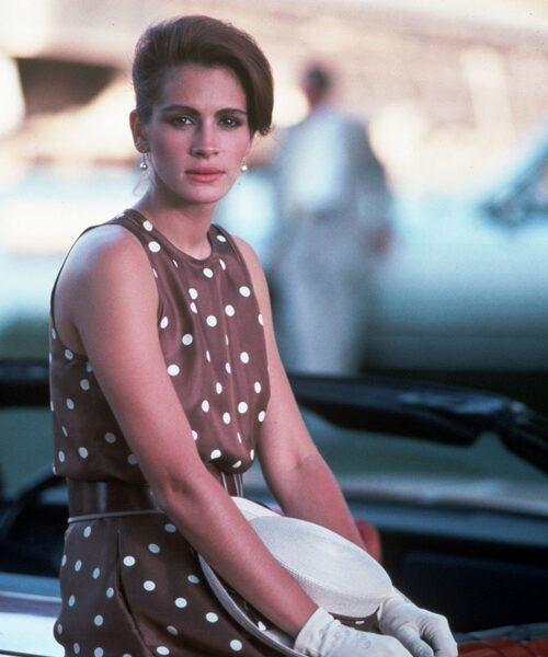 1990-TAL. Julia Roberts i Pretty Woman från 1990 i den prickiga klänningen hon köpte på Rodeo Drive som gjorde henne till en ärbar kvinna.