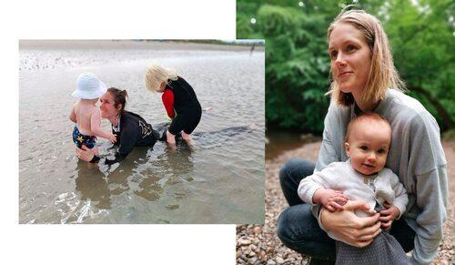 Emma med barnen Tor, 3, och Runa, 1.