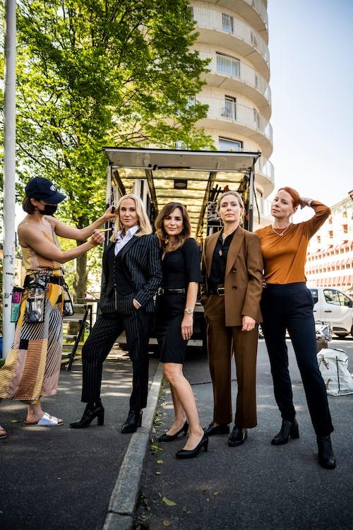 Inspelning av tv-serien Heder, med Anja Lundqvist, Alexandra Rapaport och Julia Dufvenius.