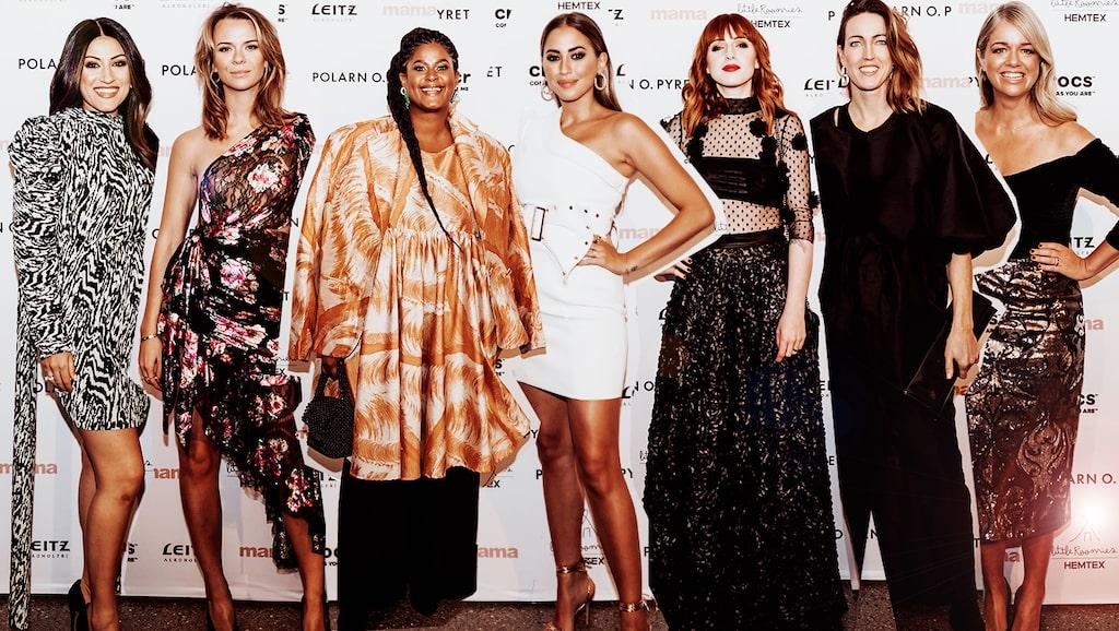 Många mamas minglade på Årets mama 2019: här Nikki Amini, Margaux Dietz, Joanna Lemnelius, Kenza Zouiten Subosic, Cissi Wallin, Therese Alshammar och Ebba Kleberg von Sydow.