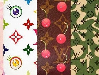 Olika varianter av Murakamis tolkning av Louis Vuittons monogram.