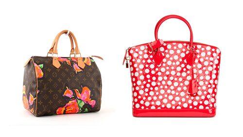 Från Stephen Sprouses (till vänster) och Yayoi Kusamas samarbeten med Louis Vuitton.
