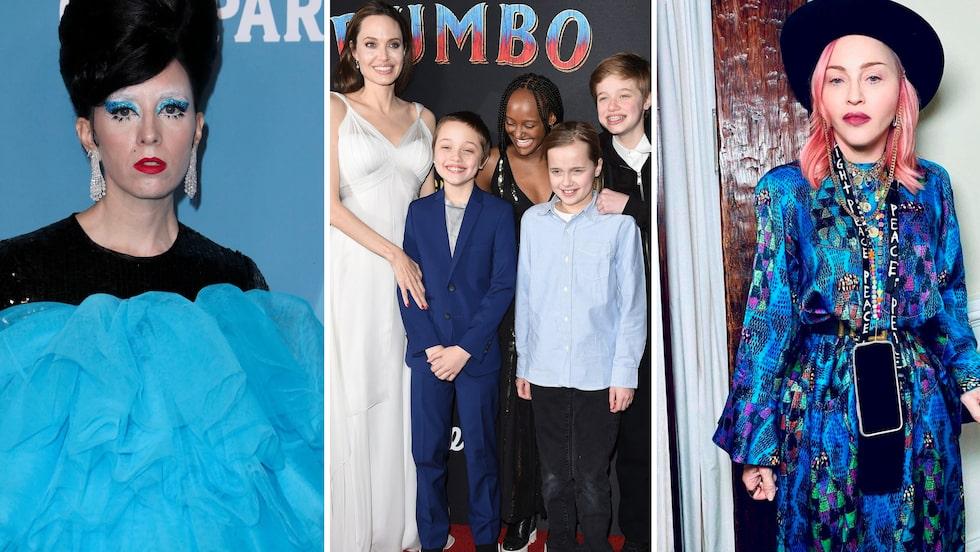 Tre megakända tvillingmammor, Bea Åkerlund, Angelina Jolie och Madonna.