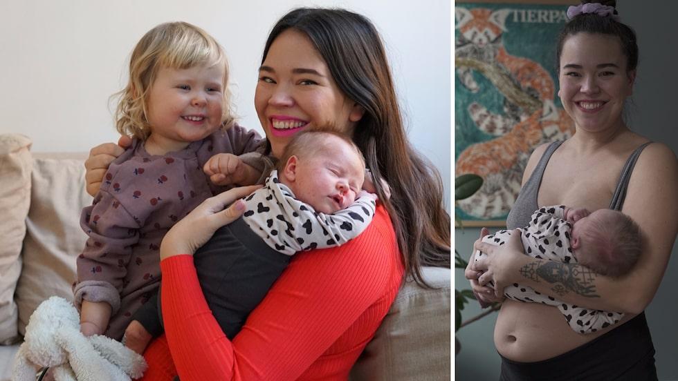 Julia med Norma, 2, och Maj-Lis som föddes i januari.