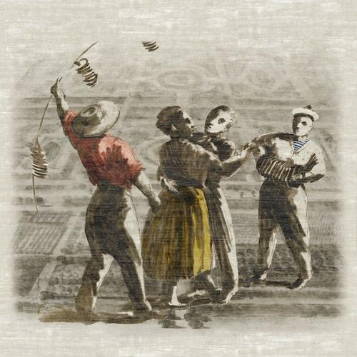Tapet Le bal, 300 x 300 cm, Élitis. En sjöman i Bretagne och ett dansande par från Versailles ger lugn och glädje!