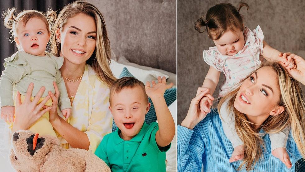 Julia Bergman med sonen Milan och dottern Zelda.