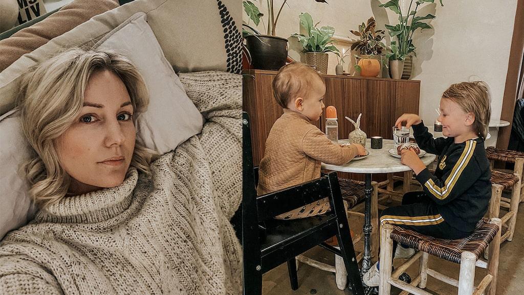 Vanja Wikström och barnen Tintin och Iggy, som hon har med sambon Niklas Malmqvist.