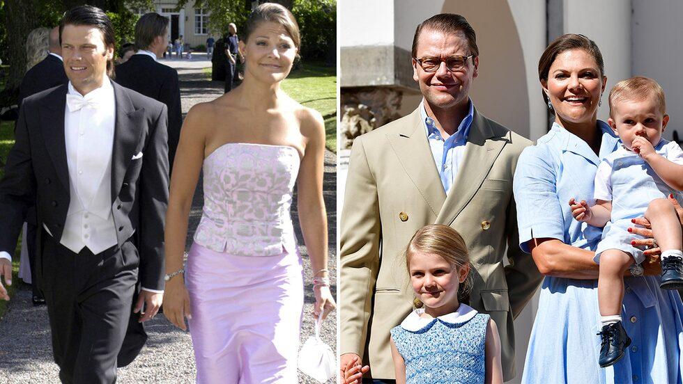Kronprinsessan Victoria och prins Daniel 2003 och 2017.