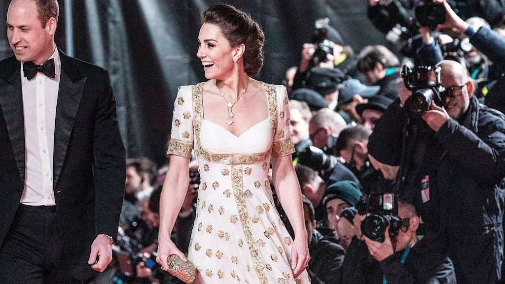 Kate Middleton på BAFTA-galans röda matta 2020.