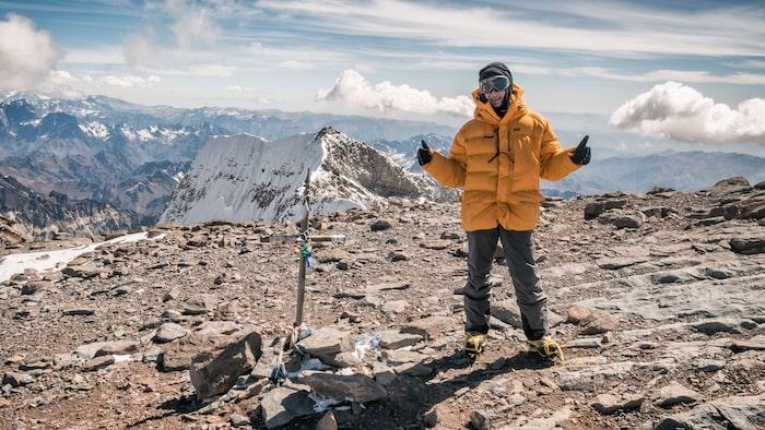 På toppen av Aconcagua, högsta berget i Sydamerika, 2014.