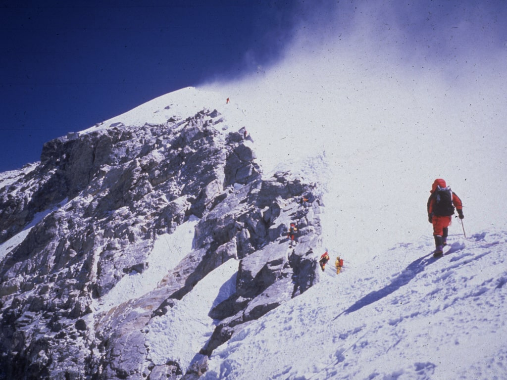 På sydtoppen av Mount Everest, Asiens högsta berg, 1999.