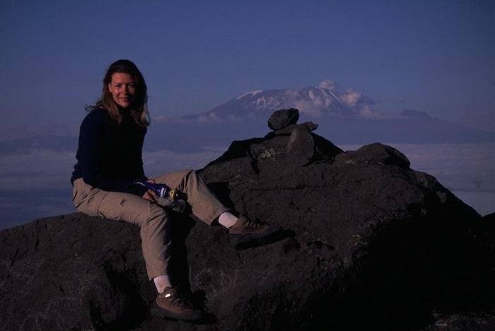 Renata på Kilimanjaro, Afrikas högsta berg, 2000.