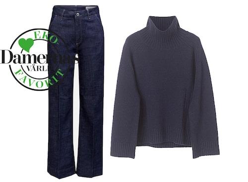 Höstmode 2020: stickad tröja och jeans.