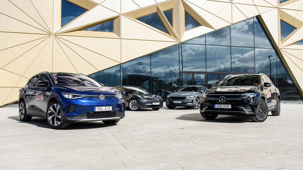 Bilden är tagen under vårt senaste test av elbilar, i detta fall Volkswagen ID.4, Tesla Model 3, Polestar 2 och Mercedes EQA. Testet läser du i tidningen och här på teknikensvarld.se senare under veckan. Håll utkik!
